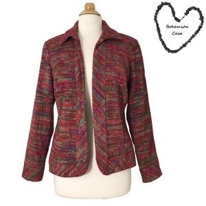 COLDWATER CREEK Colorful WOVEN Blazer Jacket M/L